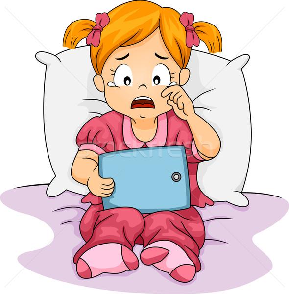 Piangere tablet ragazza illustrazione bambina Foto d'archivio © lenm