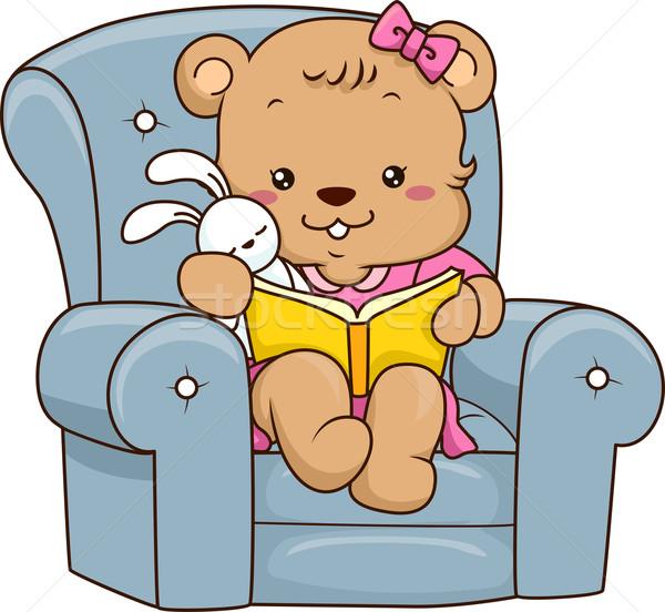 Verhalenboek beer illustratie cute baby lezing Stockfoto © lenm