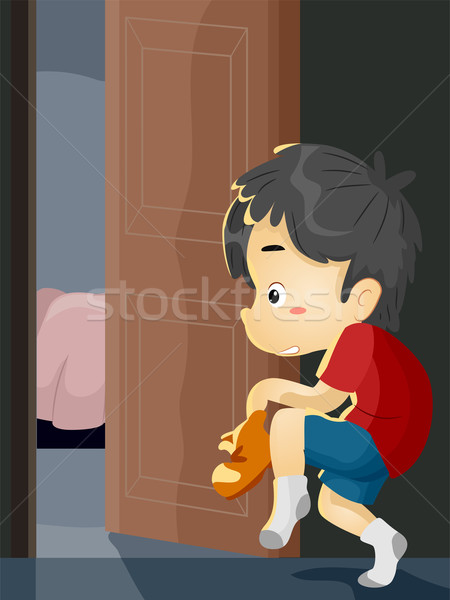 Boy Sneaking Out Stock photo © lenm