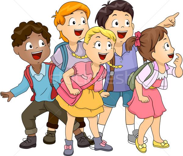 Gyerekek felfelé néz illusztráció csoport néz oldal Stock fotó © lenm