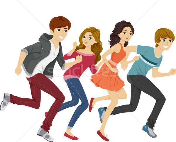Uruchomiony nastolatków ilustracja student teen chłopca Zdjęcia stock © lenm
