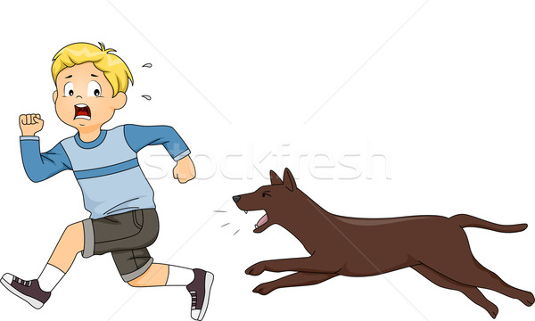 Dog Chasing Kid Stock photo © lenm
