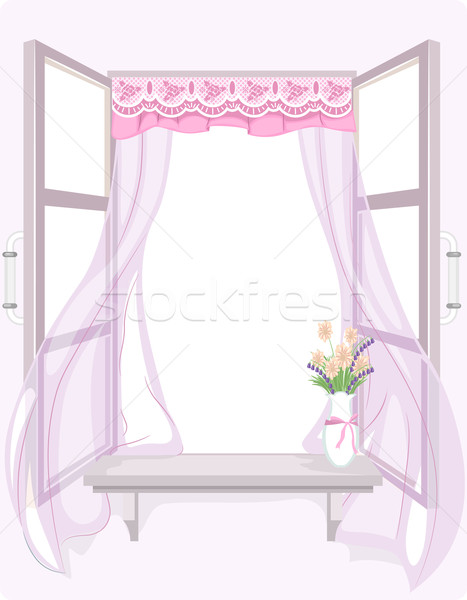 Shabby Chic Curtain Stock photo © lenm