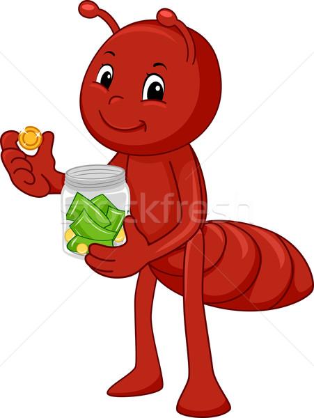 муравей иллюстрация деньги стекла банку Сток-фото © lenm