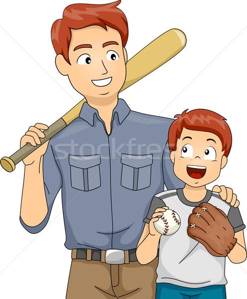 Baseball kötődés illusztráció apa fia férfi gyermek Stock fotó © lenm