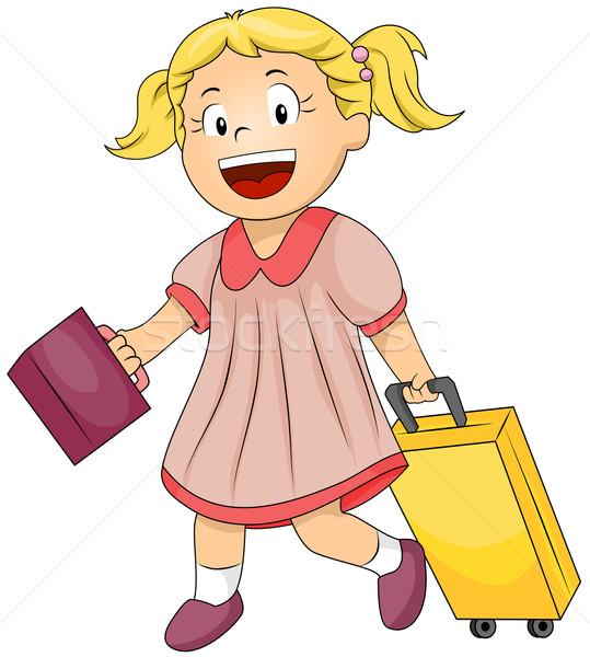 Női diák illusztráció táska egy kéz Stock fotó © lenm