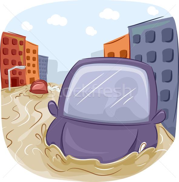 Autó illusztráció tájkép épületek vihar sár Stock fotó © lenm