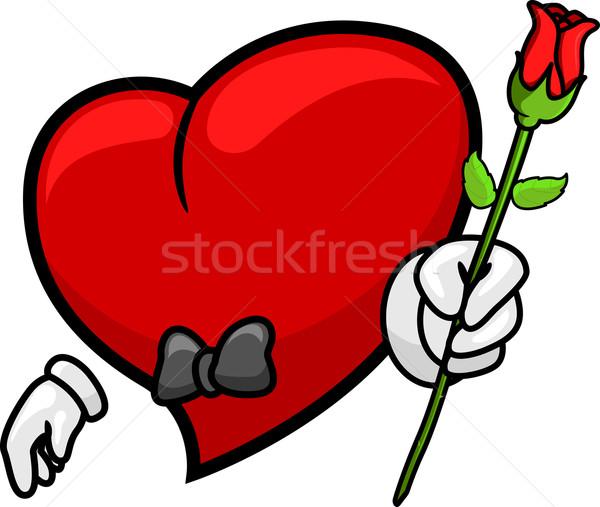 Heart Giving a Rose Stock photo © lenm
