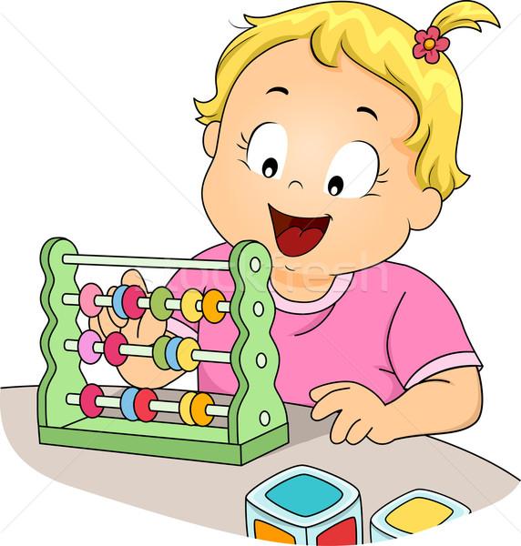 Gyerek lány kisgyerek abakusz illusztráció kislány Stock fotó © lenm