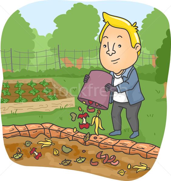 Man Food Scraps Compost Pit Stock photo © lenm