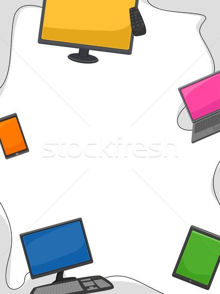 Elektronikus eszközök keret illusztráció különböző kütyük Stock fotó © lenm