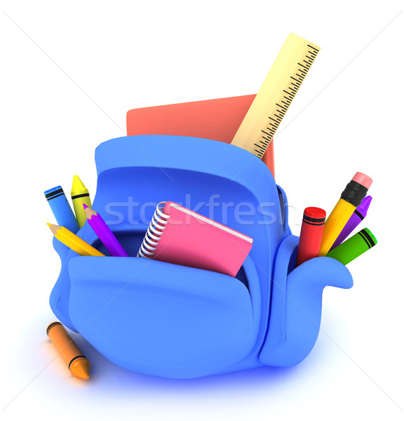 Iskola táska 3d illusztráció jegyzettömb vonalzó zsírkréták Stock fotó © lenm