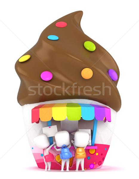 Ninos compra hielo crema 3d hombre Foto stock © lenm