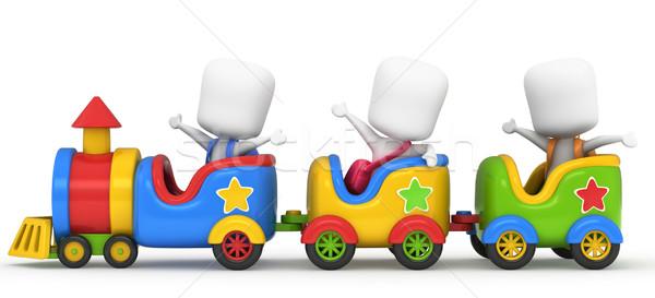 Ninos tren 3d juguete nino diversión Foto stock © lenm