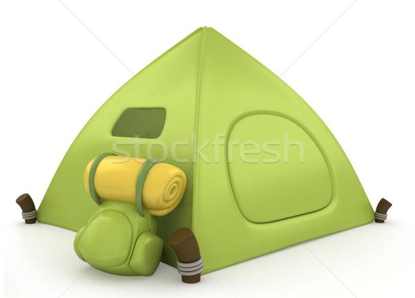 лагерь палатки 3d иллюстрации зеленый весело Cartoon Сток-фото © lenm