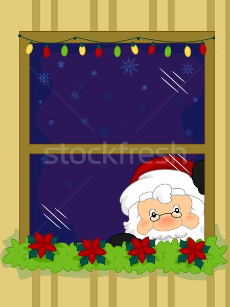 Santa Taking a Peek Stock photo © lenm