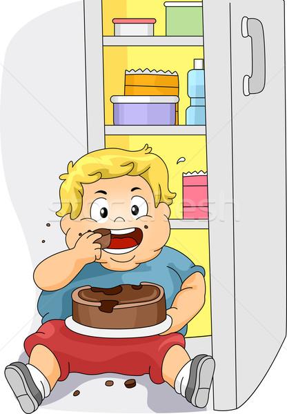 избыточный вес мальчика еды иллюстрация торт здоровья Сток-фото © lenm