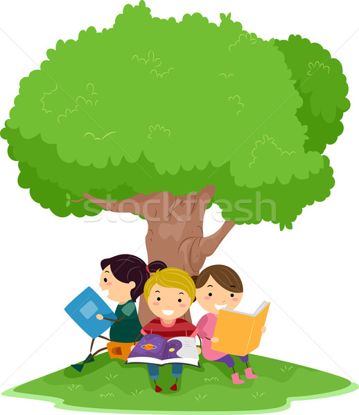 Lecture enfants illustration arbre enfant Kid Photo stock © lenm