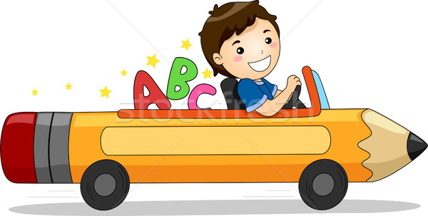 Boy Driving a Pencil Car with ABC Stock photo © lenm