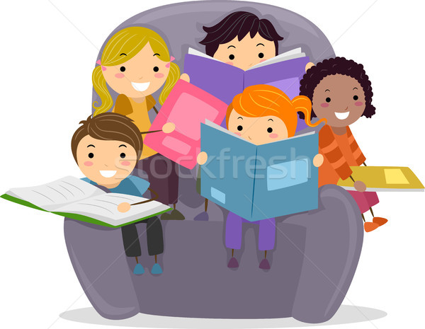 Gyerekek olvas könyvek illusztráció kicsi ül Stock fotó © lenm