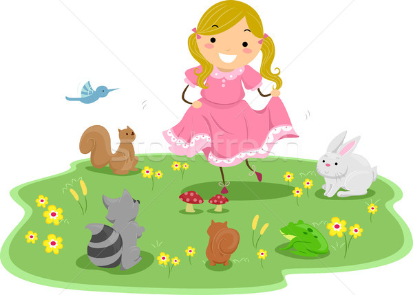Girl with Cute Animals Stock photo © lenm