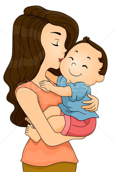 商业照片 / 矢量图: 母亲 · 接吻 · 男孩 · 插图 · 快乐