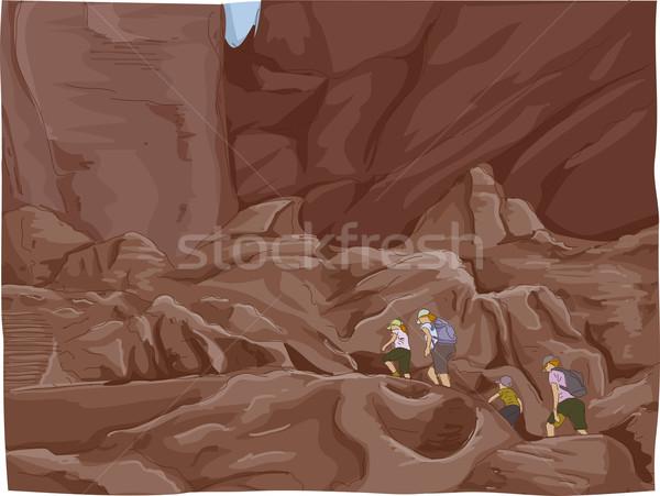 Petra Ruins Climb Stock photo © lenm