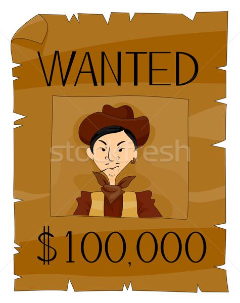 Keresett poszter vágási körvonal cowboy rajz western Stock fotó © lenm