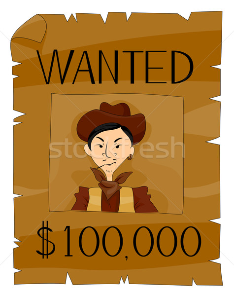 Gezocht poster cowboy cartoon westerse Stockfoto © lenm