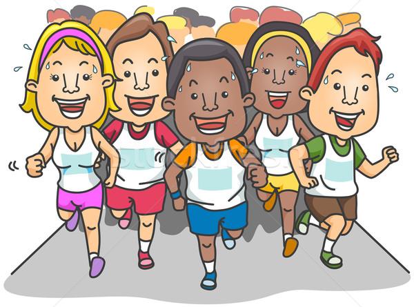 Maraton emberek fut vágási körvonal csoport verseny Stock fotó © lenm