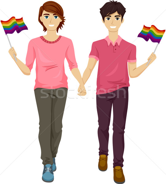 Gay fierté couple illustration hommes rose Photo stock © lenm