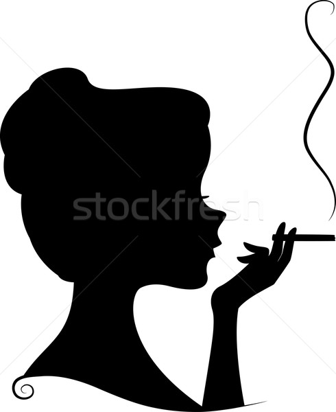 Sigara tiryakisi siluet örnek kadın kadın siyah Stok fotoğraf © lenm
