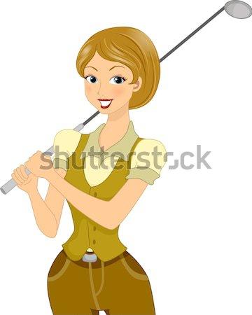 девушки дизайнера пер таблетка иллюстрация женщину Сток-фото © lenm