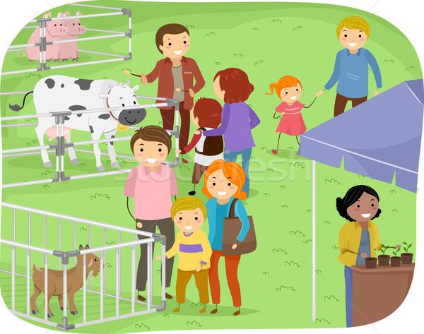 Stickman Family Outdoor Farm Expo Stock photo © lenm