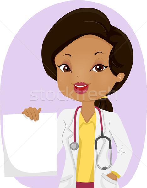 Fille médecin tenir ordonnance illustration Photo stock © lenm