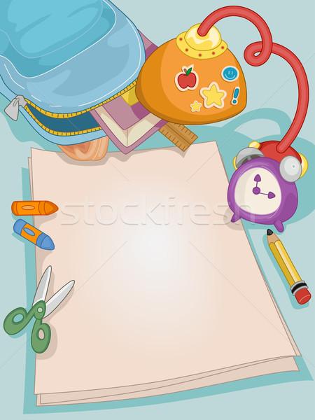 Desk Blank Paper School Stock photo © lenm