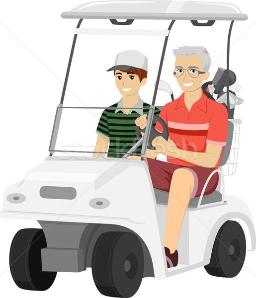 Senior Man Grandson Golf Cart Stock photo © lenm
