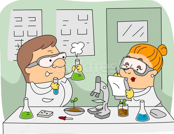 Rolniczy naukowiec ilustracja naukowcy pracy człowiek Zdjęcia stock © lenm