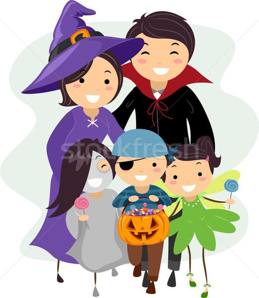 Halloween familie illustratie kostuums kinderen kind Stockfoto © lenm