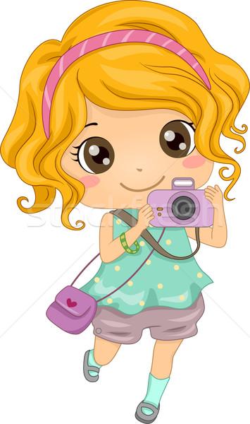 Caucasiano fotógrafo ilustração jovem menina Foto stock © lenm