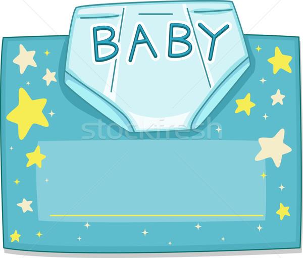 üdvözlőlap design pelenka baba égbolt csillagok kék Stock fotó © lenm