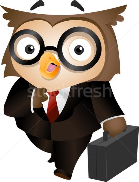 Bagoly aktatáska illusztráció hordoz üzletember öltöny Stock fotó © lenm