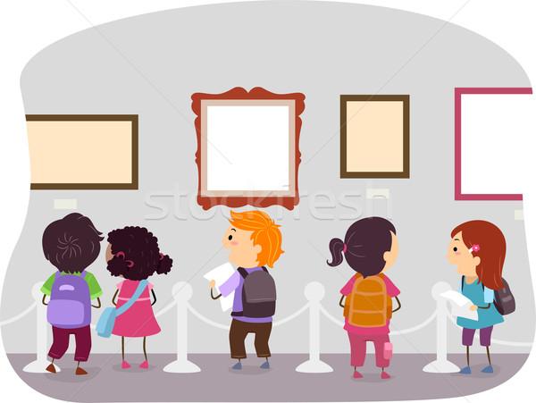 Sanat müze çocuklar örnek bakıyor kız Stok fotoğraf © lenm