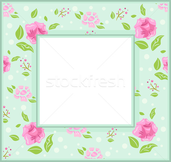 Minable cadre illustration roses vert Photo stock © lenm