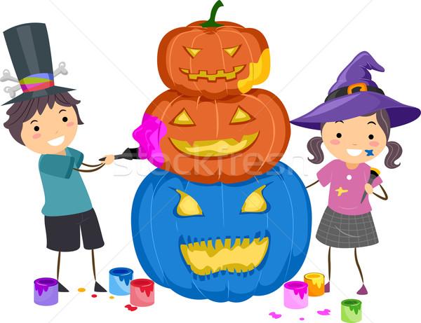 Pumpkin Painting Stock photo © lenm