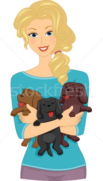 Female Dog Lover Stock photo © lenm