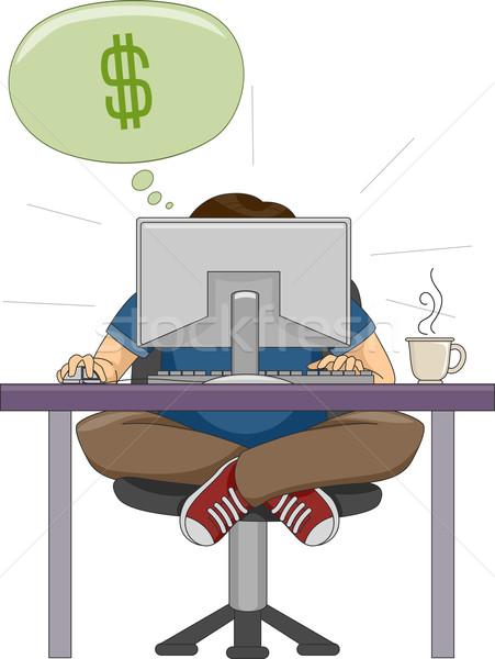 Online üzlet illusztráció férfi számítógép dolgozik Stock fotó © lenm