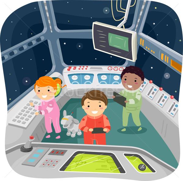 Gyerekek űrhajó irányítás szoba illusztráció gyermek Stock fotó © lenm