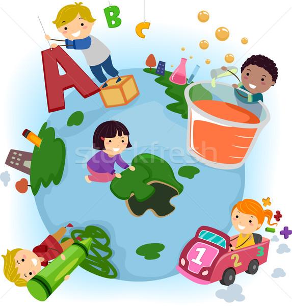 Gyerekek Föld oktatás illusztráció tevékenységek iskola Stock fotó © lenm