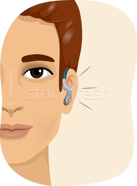 Férfi hallókészülék illusztráció mosolyog visel férfi Stock fotó © lenm